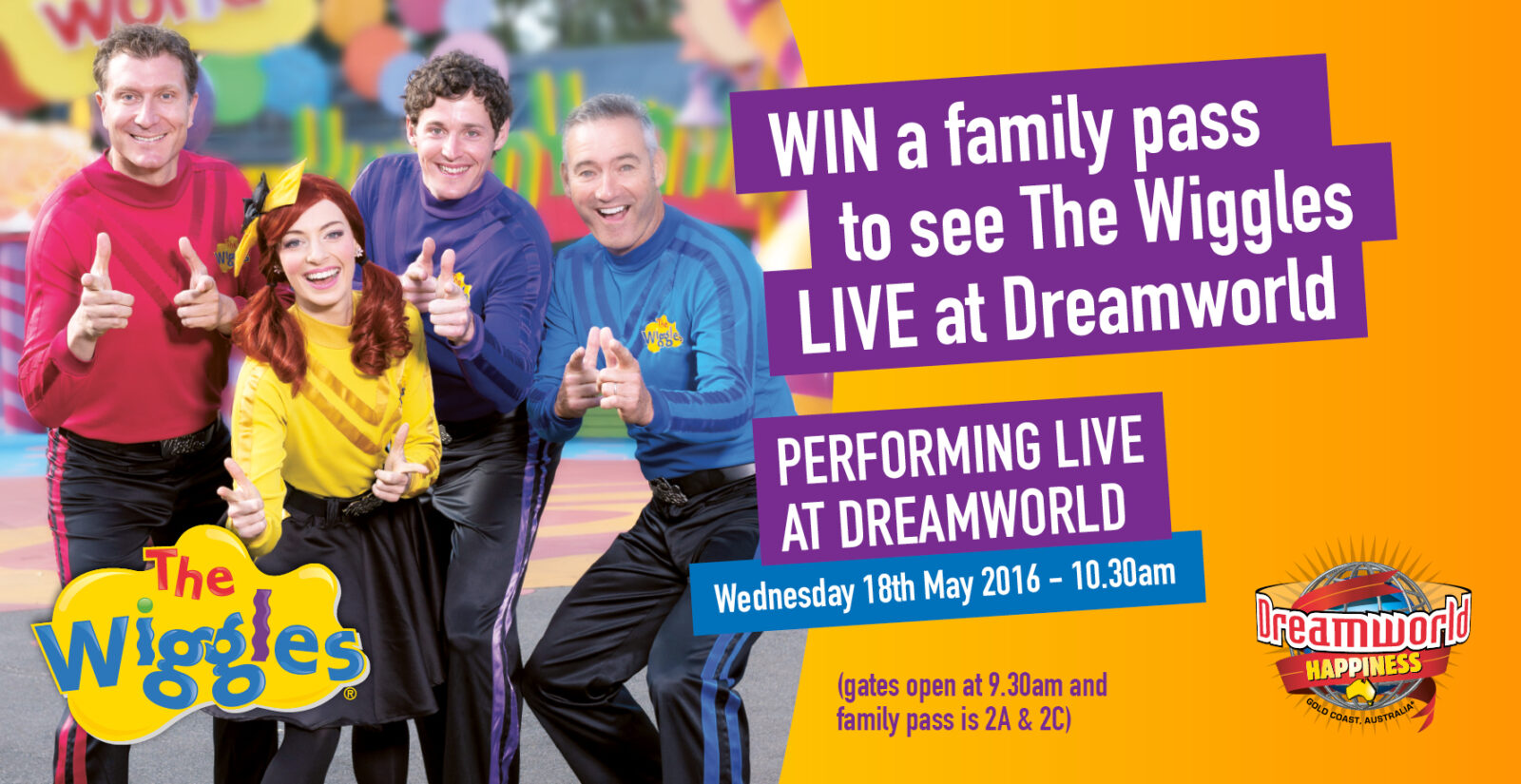 the wiggles performing live at dreamworld haven for families